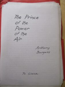 Manuscript with the handwritten words The Prince of the Power of the Air
