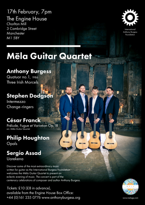 Concert poster featuring the Mela Guitar Quartet