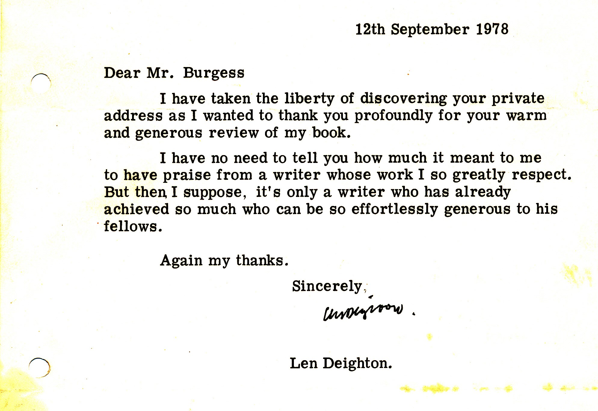 This Letter Hints At The Mutual Respect And Admiration Between Anthony  Burgess And Len Deighton. The Letter Is A Response To Burgessu0027s Review Of  Deightonu0027s ...