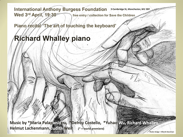 Poster for the Richard Whalley recital showing interlacing hands