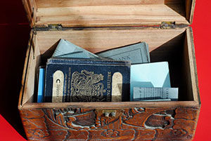 A box of passports in the archive