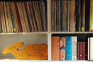 Archive picture with records, books and fish jigsaw