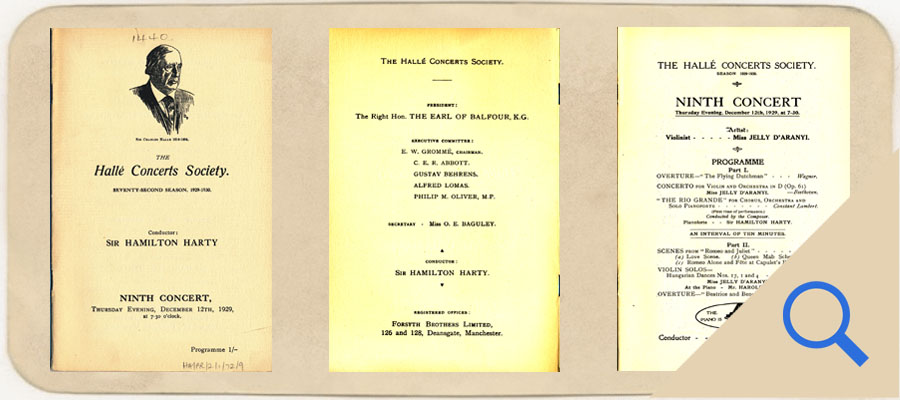 Halle Concerts Society Program 1929 first 12 pages