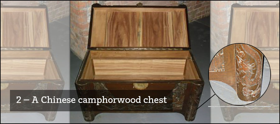 2) A Chinese camphorwood chest