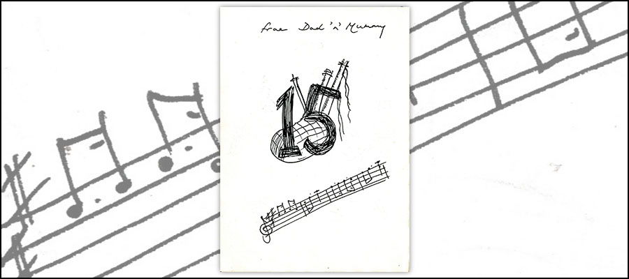 Hand-drawn 15th birthday card with bagpipe and stavebirthday card