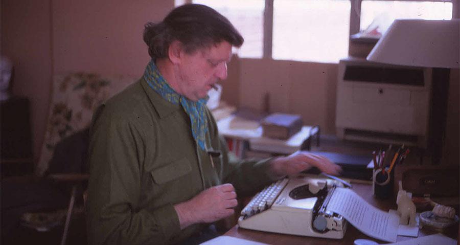 Anthony Burgess at his typewriter