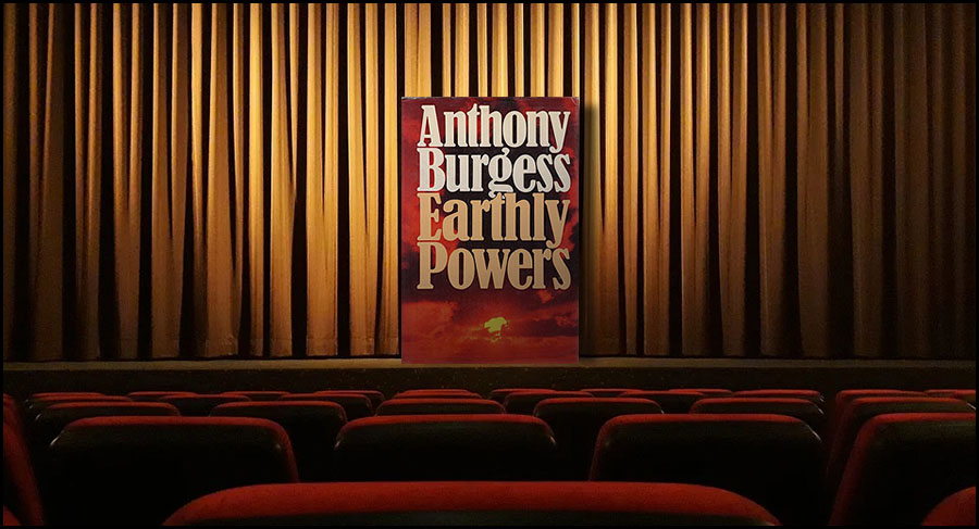 A copy of Earthly Powers on a stage