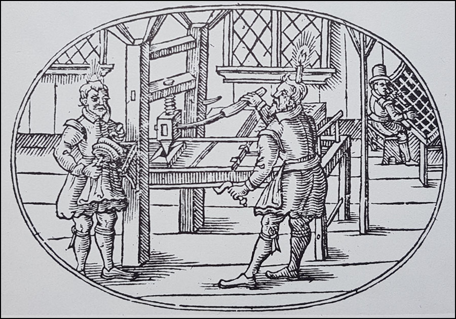 Press operators with printing press