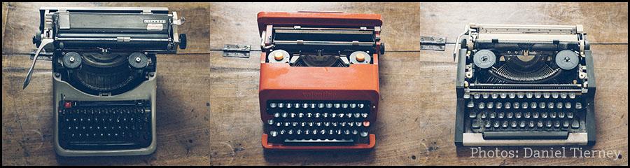 Three Burgess typewriters: photo Daniel Tierney