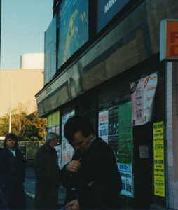 Anthony Burgess outside the Reno club in 1987