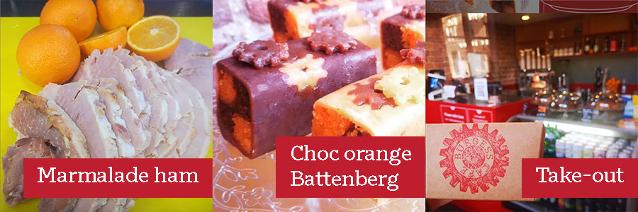 Marmalade ham, choc orange Battenberg, take-out