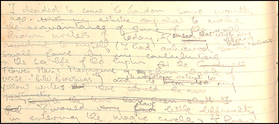 Faint hand-written notes by Anthony Burgess