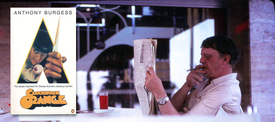 Anthony Burgess in cafe and A Clockwork Orange
