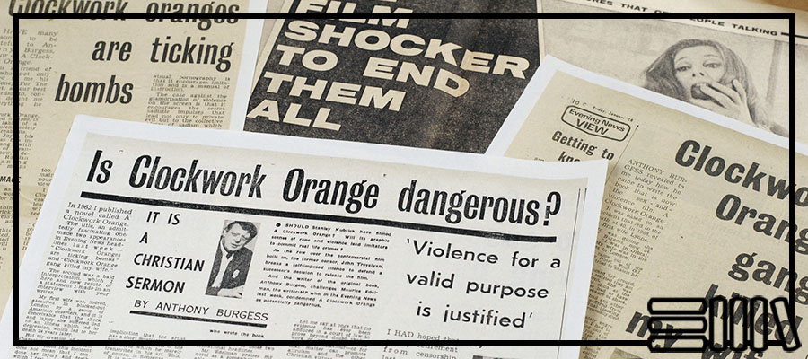 A montage of press clippings about A Clockwork Orange