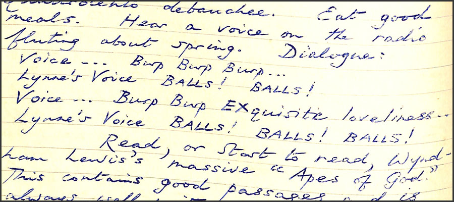 Handwritten extract from a notebook showing bawdy dialogue