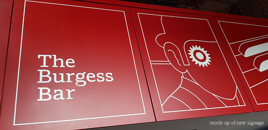 The Burgess Bar signage mock-up