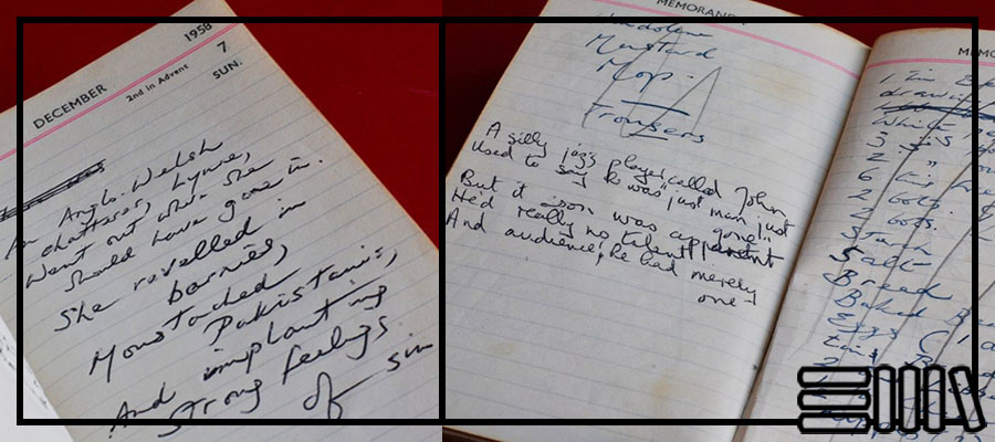 Notes inside Burgess's diary