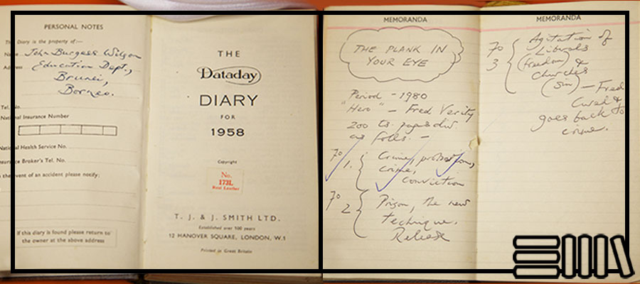 Scribblings inside the front section of Burgess's diary