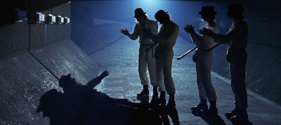 Droogs up to no good in an underpass