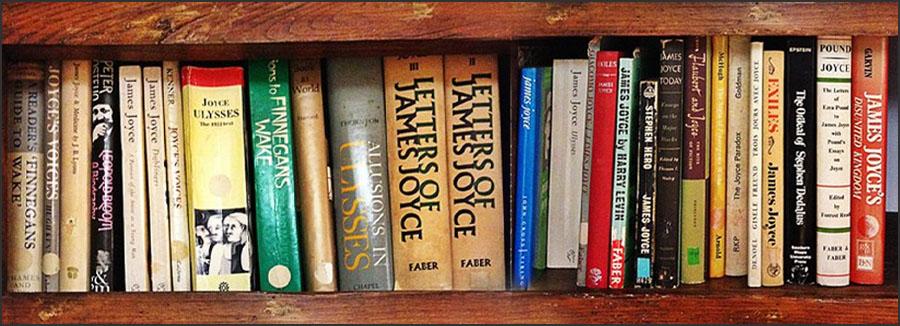 Book shelves with James Joyce books
