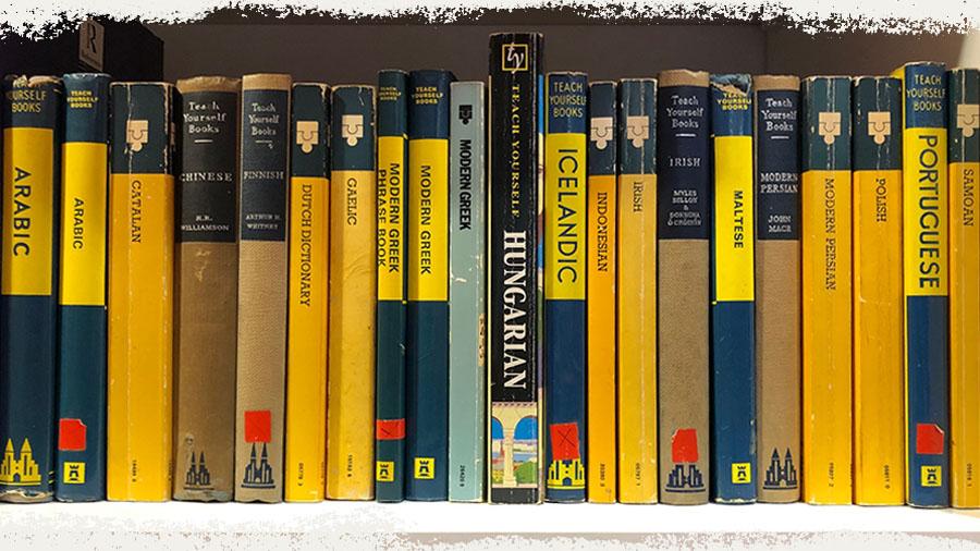 Teach Yourself Books on a bookshelf