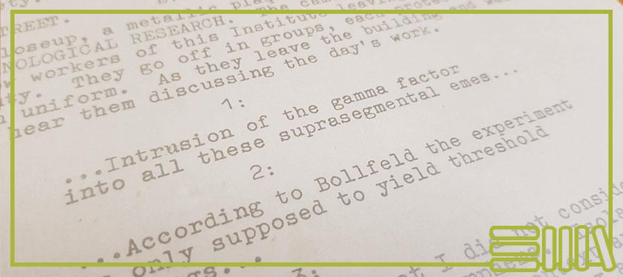 Abstract text excerpt of A Clockwork Orange script
