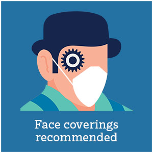 A droog with a mask: Face coverings recommended